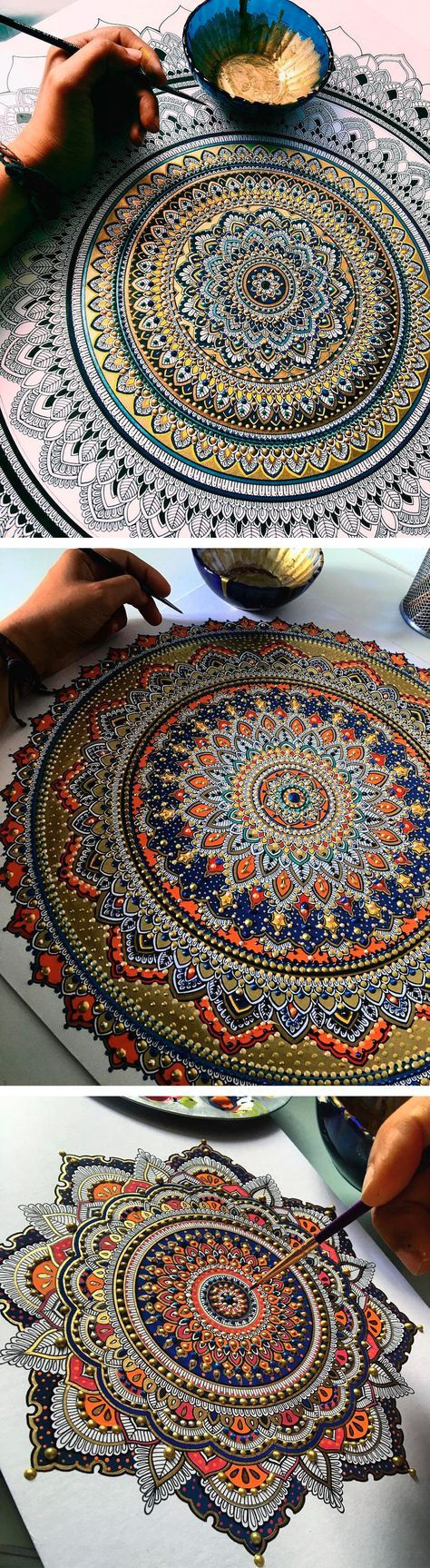 Intricate Mandalas Gilded with Gold Leaf by Artist Asmahan A. Mosleh…