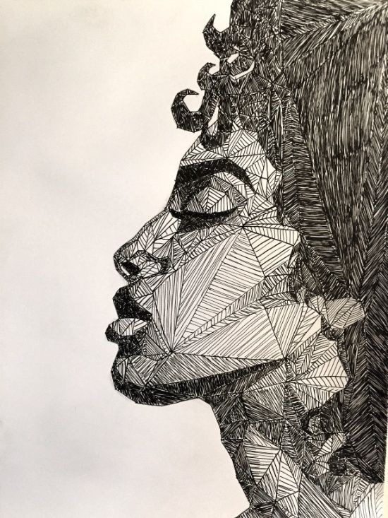 Geometric Portrait Art Print by Sketching Nonsense | Society6