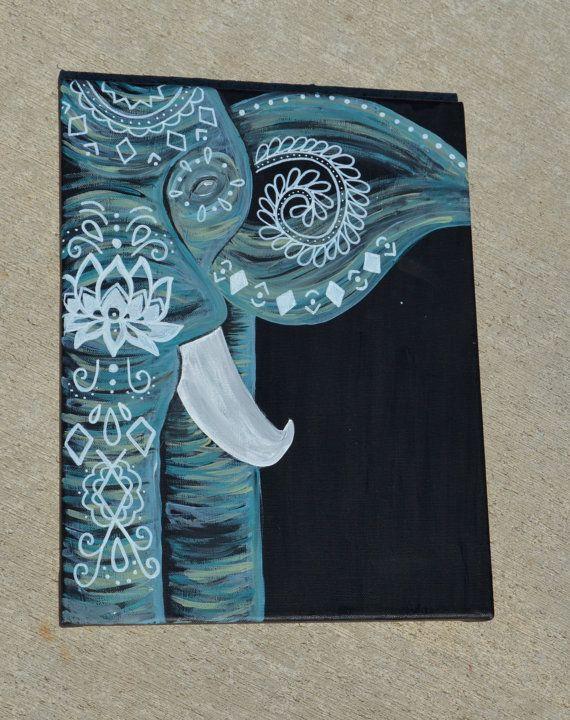 Handpainted Elephant Mandala Canvas Painting // Teal, Turquoise, Blue, Green Boho Elephant
