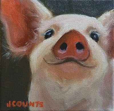 KYLE BUCKLAND 'S WIFE JENN COUNTS FARM ART Pig Hog  ANIMALS OIL PAI…
