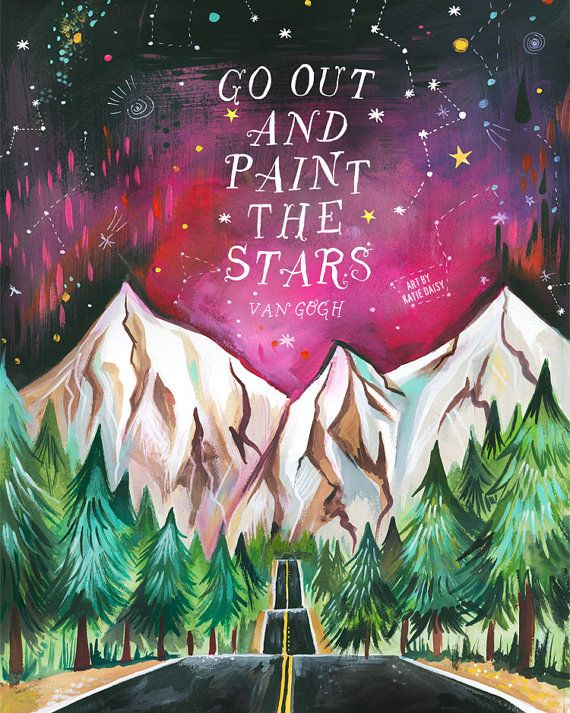 Paint The Stars Van Gogh Art Print |  Inspirational Wall Art | Watercolor Mountains | Landscape Painting | Katie Daisy | 8×10