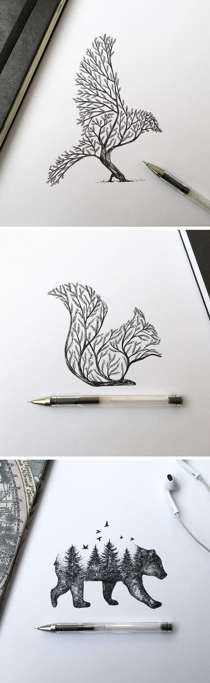 Pen & Ink Depictions of Trees Sprouting into Animals by Alfred Basha…