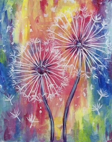 rainbow dandelions painting…