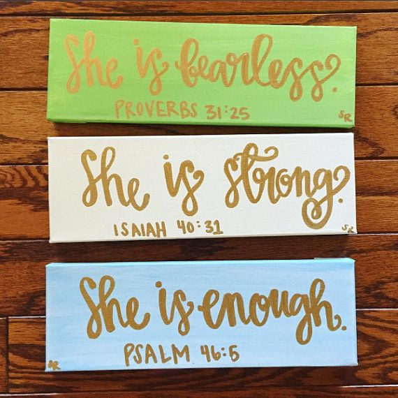 She Is… Canvases Pack of 3 – Inspirational Canvas – Inspirational Wall Hangings – Religious Decor – Bible Verse Canvases – Canvas Set