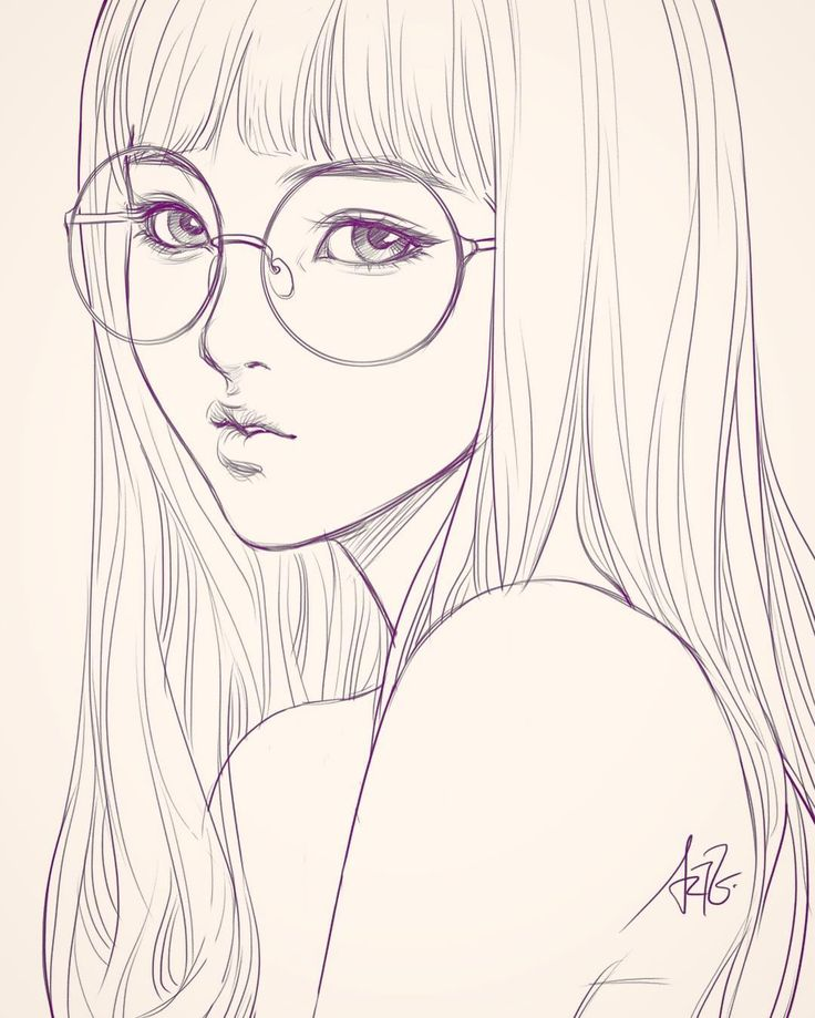 Last sketch of girl with glasses. Having bad backache it hurts. ;/…