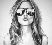 black and white sketches of girls – Google Search