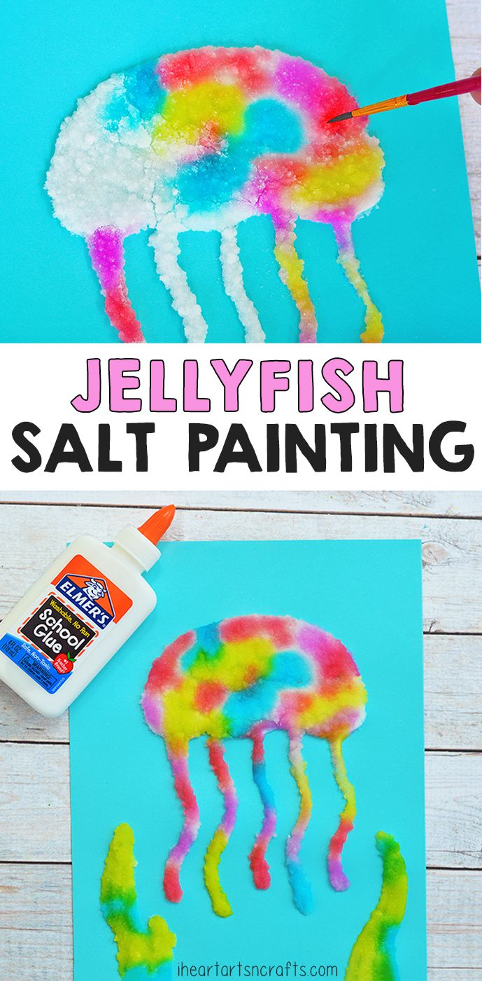 Salt is such a fun medium for art projects! Make this Jellyfish salt painting! A…