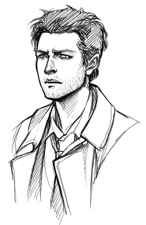 "doromon: ""  Sketches of attractive people. Why is Castiel is so hard to draw t…"