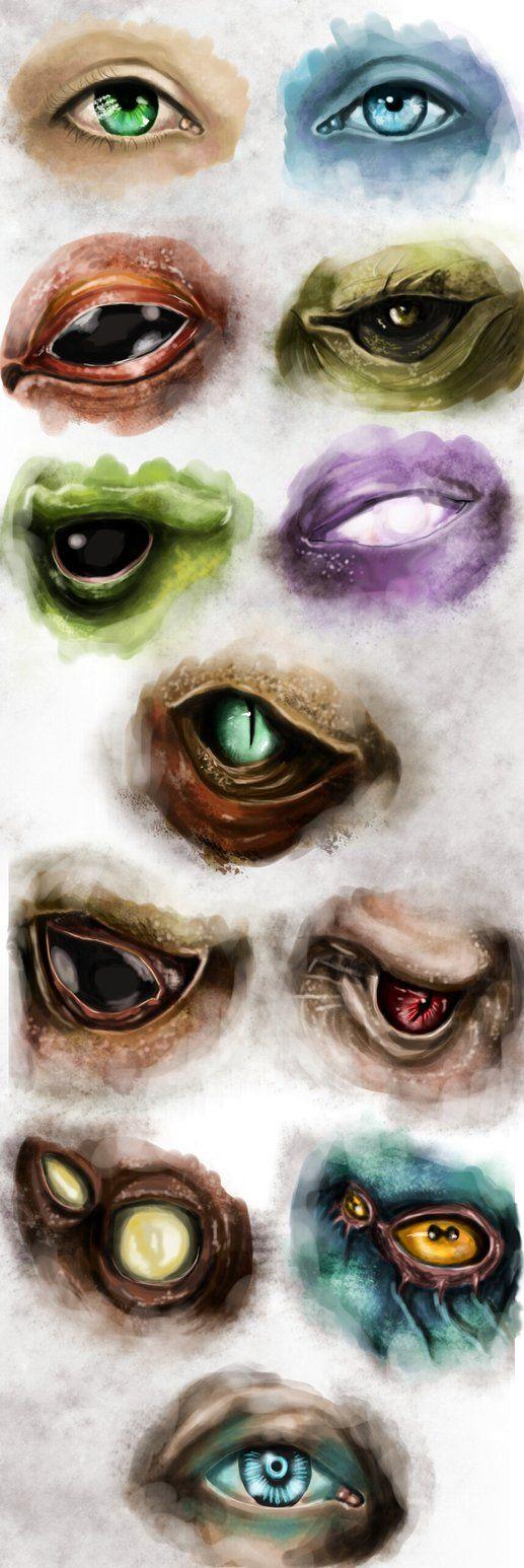 Sketch of eyes: Human. Asari, Salarian, Turian, Drell, Quarian, Krogan, Batarian…