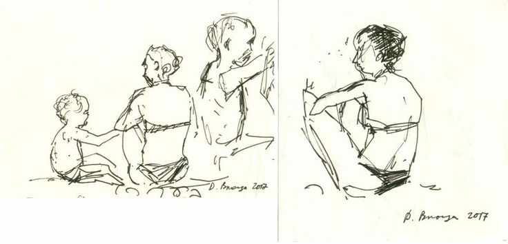 """""""Mediterranean sea #4 (set of two sketches)"""" by Dima Braga. Ink drawing on Paper…"""