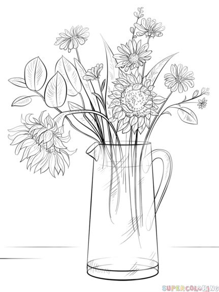 How to draw a Bouquet of Flowers step by step. Drawing tutorials for kids and be…