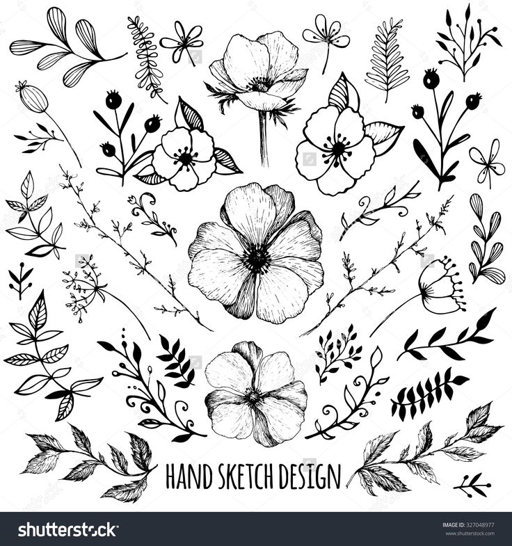 Big Set Of Sketches And Line Doodles – Hand Drawn Design Elements – Isolated Flo…