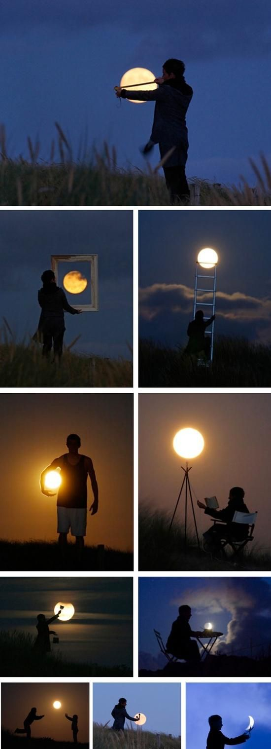 Forced perspective shots – Playing with the moon