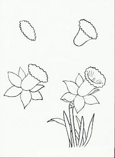 This is for third grade art…perhaps I should learn how to do it?  My daffodils…