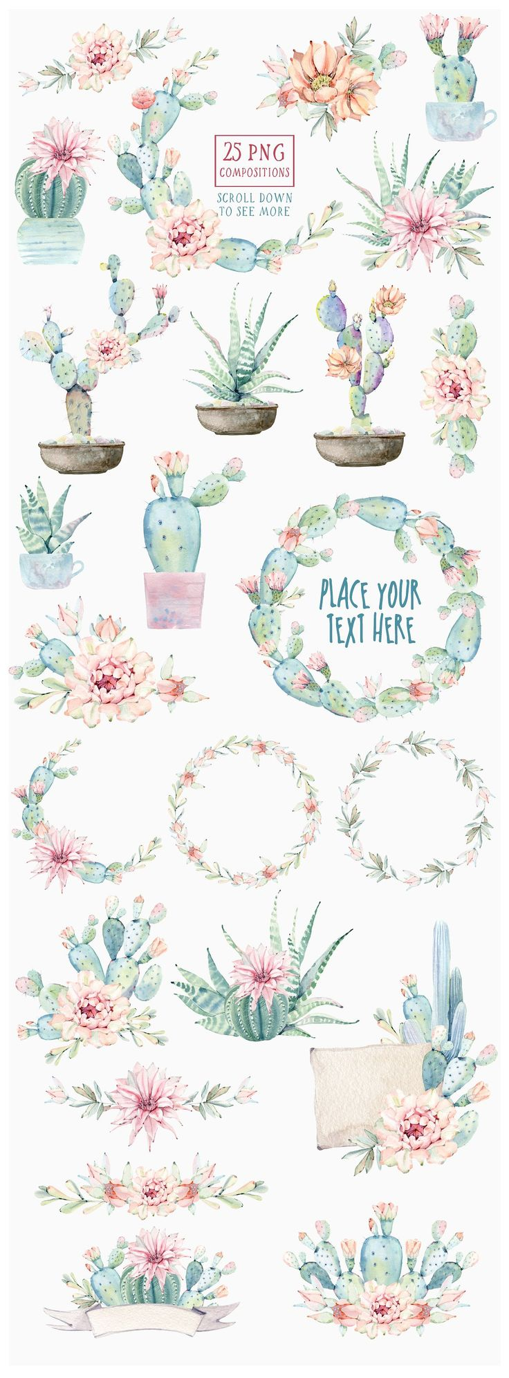 Watercolor Pastel Graphics | CACTUSES again and again  by Lemaris on Creative Ma…