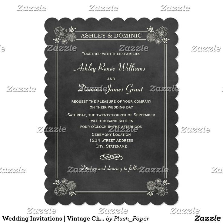 Wedding Invitations | Vintage Chalkboard Design Simply romantic and chic wedding…