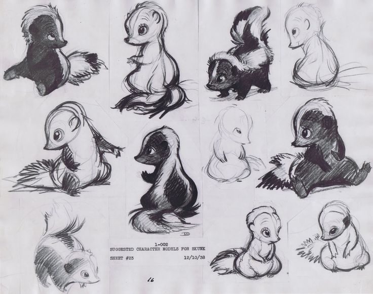 Preliminary sketches of Flower — from Disney's adorable-yet-eternally-tragi…