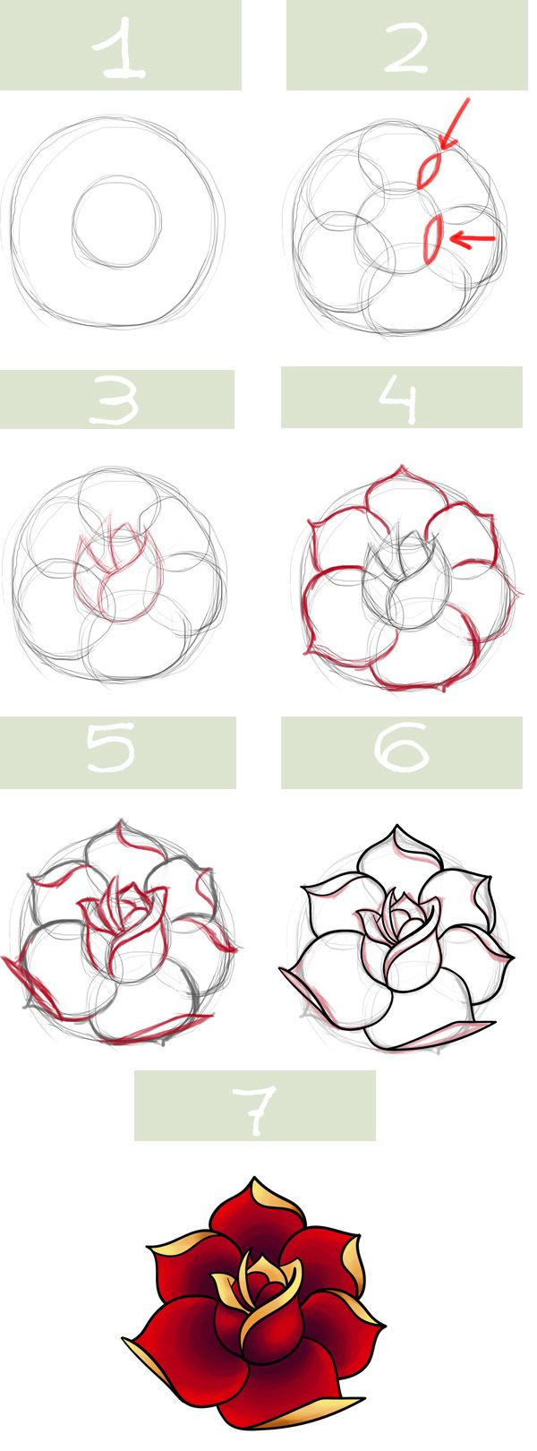 Simple roses. My kids always draw roses :/ I must show them this much better way…
