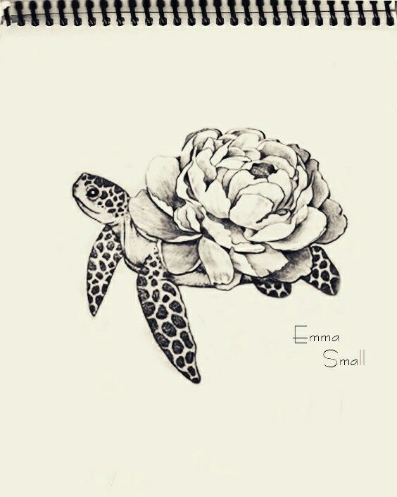 Tattoo, sketch , flowers ,turtle , by Emma Small #EmmaSmall                     …