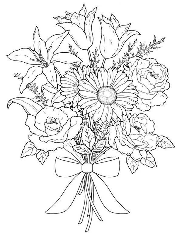 Flower sketches: Flower Bouquet For Valentine Day Coloring Page