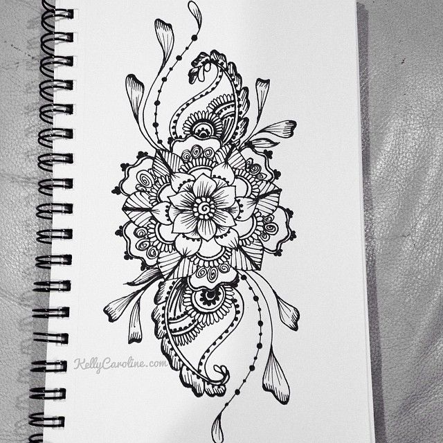 Sketched henna design with flowers and paisleys. i want this as a tattoo on the …