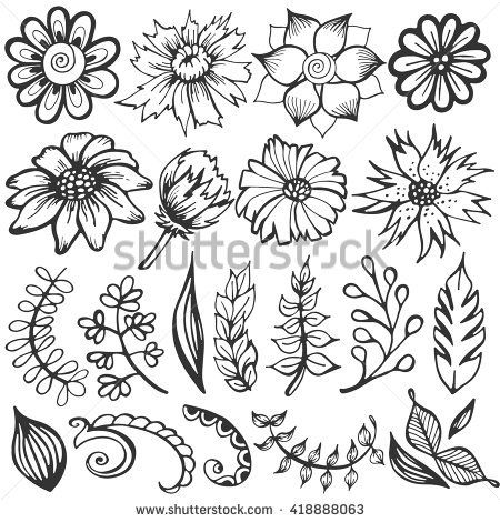 Doodle set of flowers and leaves. Vector sketch illustration. Hand drawn floral …