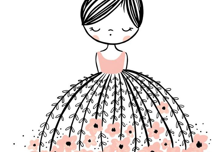 Flower Dress Dreamer Is A Stunning Illustrated Art Print For Girls, With A Pop O…