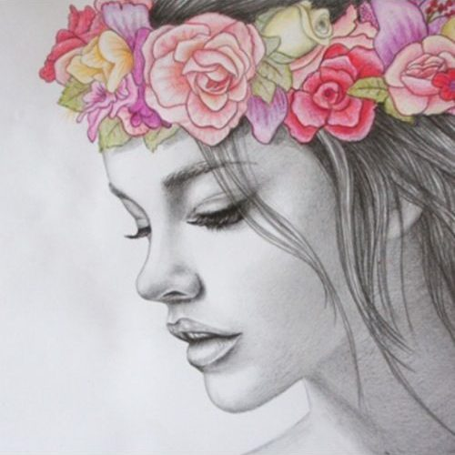 Sophie bedroom? artwork girl with coloured floral headband – Google Search