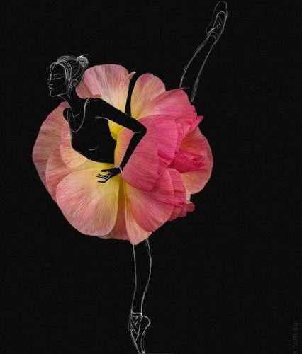 fashion sketch of ballerina with rose poppy flower as a ballet skirt