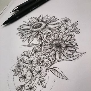 pencil sketches of sunflowers – Google Search