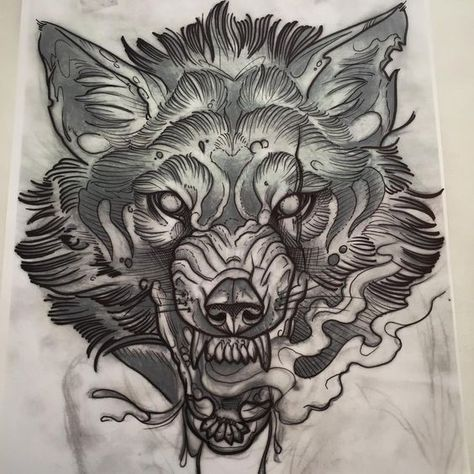 beautiful sketch of a wolf growling.. i would want a tattoo like this, but a tig…
