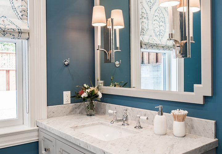 blue bathroom by Artistic Designs for Living