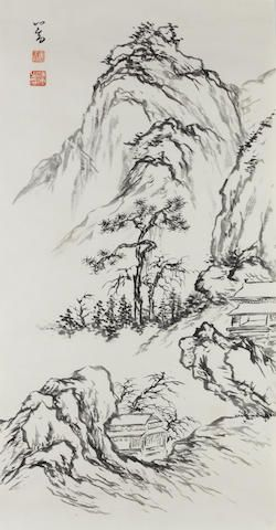 Pu Ru (1896-1963) Six sketches of Flowers and Landscapes