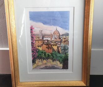 Custom framed Signed Watercolor Painting Artwork Art Firenze Florence Italy