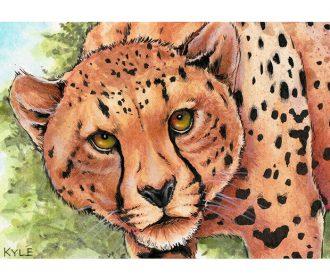 Original WATERCOLOR cat wildlife nature cheetah lion tiger painting art