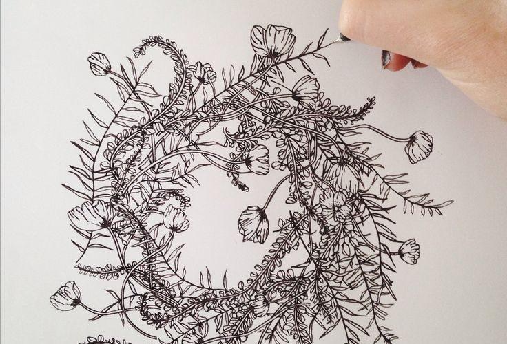 Jenna Rainey // Mon Voir Ferns, foxglove and poppies – wreath in progress