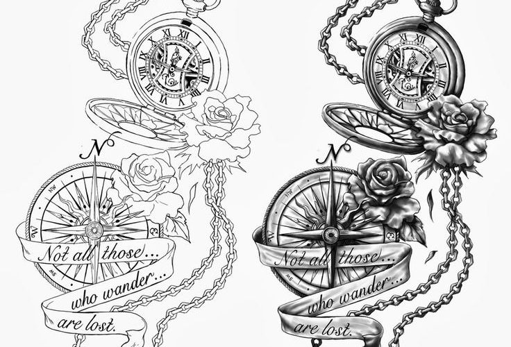 pocket watch and flower tattoos | with a different saying and no compass but an …