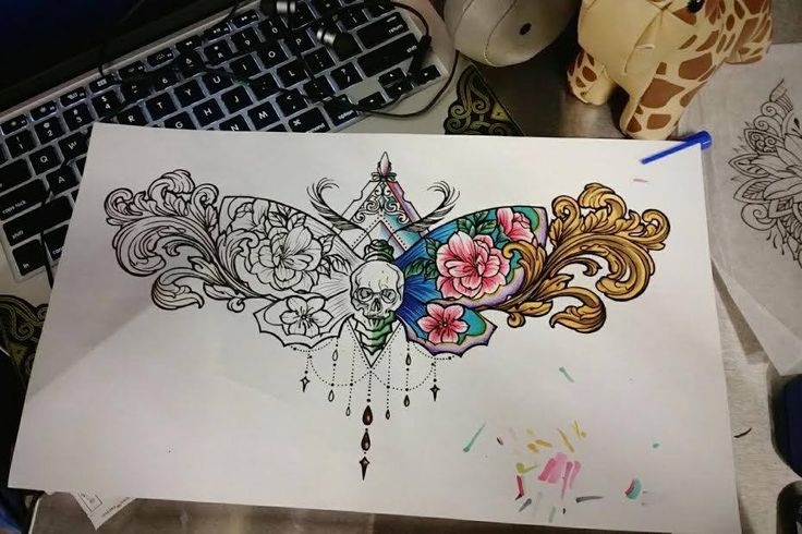 Chronic Ink Tattoo – Toronto Tattoo  Custom sketch of a moth with skull, flowers…