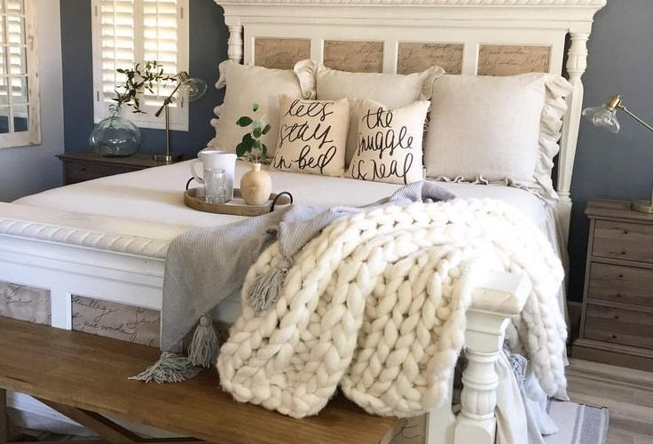 Headboard. Farmhouse Bedroom Inspiration! All the swooning over this space … A…