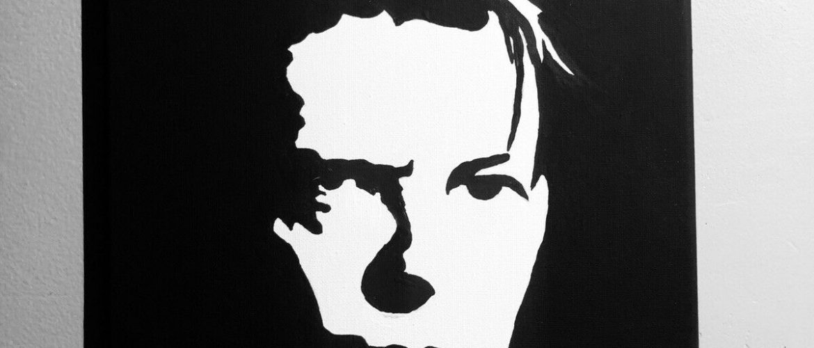 Hand painted art canvas 11×14  DAVID BOWIE   Acrylic painting Black