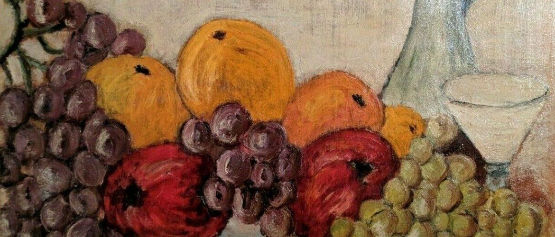 Fine Art Original Artist Signed Vintage Still Life  Oil Painting on Wood