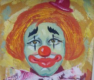 Vintage Famous Artist MORRIS KATZ Clown Original SIGNED Oil Painting Framed L@@K