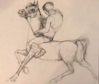 WALT PEREGOY FAMOUS DISNEY ANIMATOR ORIGINAL COA ART ARTWORK HORSE MAN  B