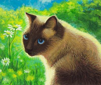 Siamese Cat in Sunny Garden ACEO HANDMADE ORIGINAL PAINTING Animal Miniature Art