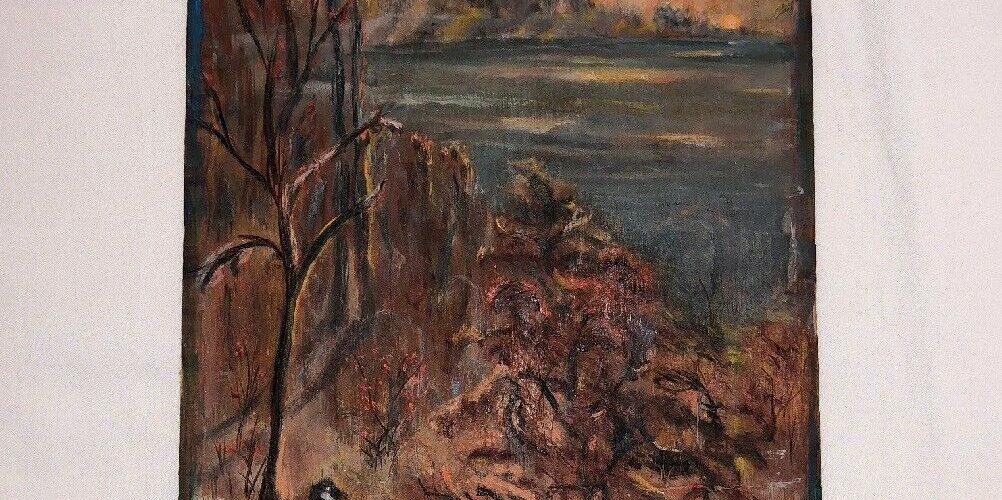 Vintage 1970 Artist Signed Wood Burned Oil Painting Nature Scene Geese Hunting