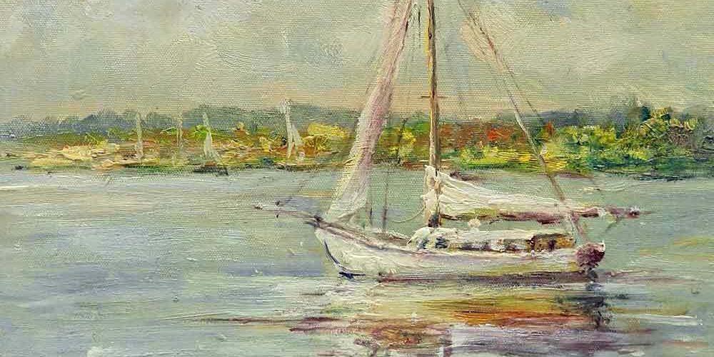 12×16 Sailboat Harbor Bay Water Original Canvas Oil Painting New Wall Art Work