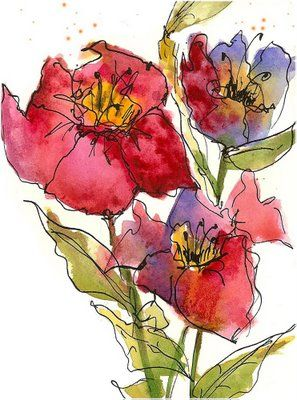 I've always liked the idea of a watercolor tattoo-   Art du Jour by Martha L…