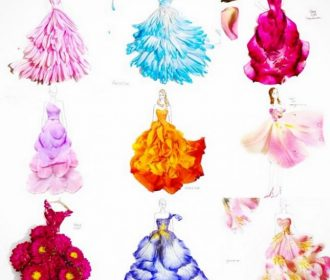 These stylish dresses are made out of flowers.
