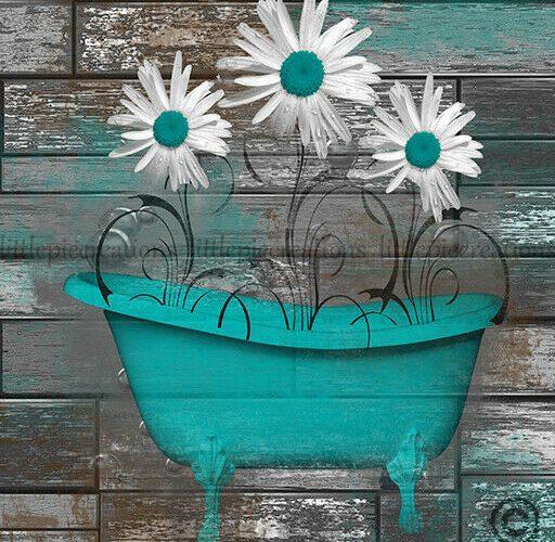 Teal Brown Bathroom Wall Decor Daisy Flowers Wall Art Modern Artwork Picture