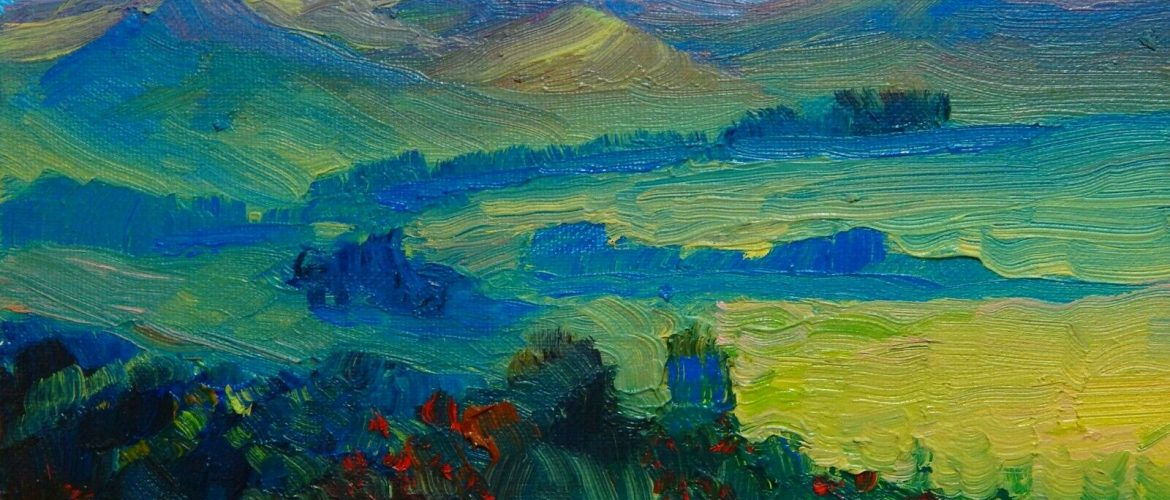 Pink Mountain Valley Oil Painting Original Oil Landscape Impressionism Red